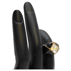 Black Enamel Clear Square Rhinestone Domed Cocktail Ring Gold Tone