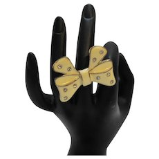 Cream Enamel Rhinestone Bow Ring Gold Tone