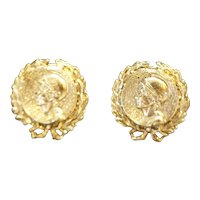 Gold Tone Faux Ancient Coin Clip Earrings Greek Roman Revival