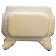 Westmoreland Beaded Milk Glass Square Pot Dish Scroll Foot Toes