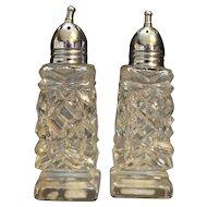 Cut Crystal Salt Pepper Shakers Norleans Japan