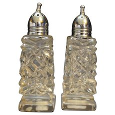 Cut Crystal Salt Pepper Shakers Norleans Japan