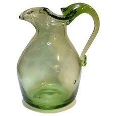 Apple Green Blown Art Glass Pitcher Three Lobe Mouth