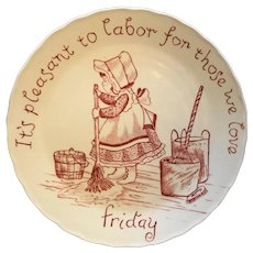 Crownford China Red Transfer Friday Days of the Week Plate