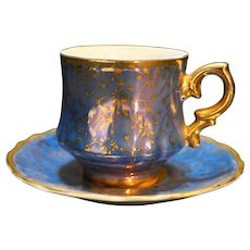 Lefton Blue Gold Floral Hand Painted Demitasse Cup Saucer 6938 Porcelain