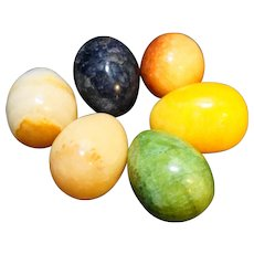 Carved Hard Stone Eggs Set of 6 Different Colors 1 1/2 IN