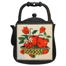 Cast Iron Tile Trivet Red Apples Flowers Strawberries Made in Taiwan