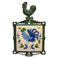 Cast Iron Tile Rooster Trivet Blue Green Made in Japan