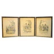 Lucien Francois Penet Antique Prints Framed Set of Three Children French