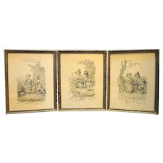 Lucien Francois Penet Antique Prints Framed Set of Three Children French
