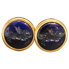 Cobalt Blue Carved Glass Pegasus Clip Earrings Gold Tone Disc
