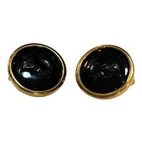 Black Glass Carved Roman Soldier Earrings Discs