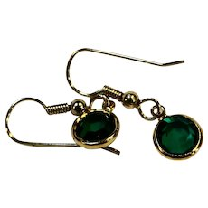 Swarovski Crystal Emerald Green Bezel Set Drop Earrings