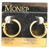 Monet Cream Enamel Hoop Earrings Post Back NOS