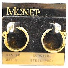 Monet Cream Enamel Hoop Earrings Post Back NOS