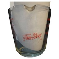 Fire King Red Print 2 Cup Measuring Cup 498 Closed Handle