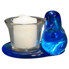 Ron Ray Bluebird of Happiness Glass Bird Candle Holder 1992