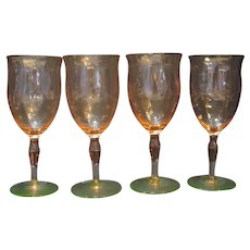 Weston Pink Green Depression Watermelon Glass Water Goblet Stems Set of 4