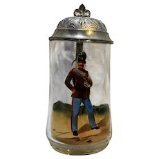 Hand Painted Blown Glass Stein Pewter Lid Soldier Decoration 0.3L