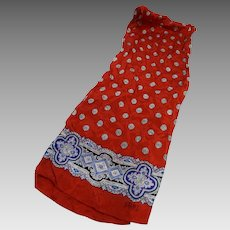 Club 7 Echo Silk Scarf Red Medallion Oblong 50 x 10 IN