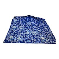 Vera 1960s-70s Blue White Butterflies Scarf 25 IN Square