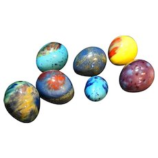 Easter Eggs Pottery Glazed Bright Colorful Set of 7