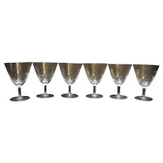 Wheat Cut Crystal Water Goblets Set of 6