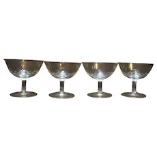 Wheat Cut Crystal Sherbets Low Champagnes Set of 4