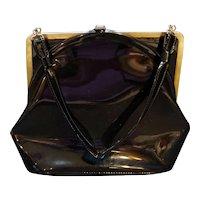 Black Patent Curved Square Frame Vintage Purse Handbag