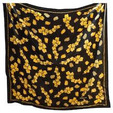 Jacques Fath Paris Black Silk Crepe Scarf Gold Jewelry Print