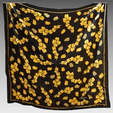 Jacques Fath Paris Black Silk Crepe Scarf Gold Jewelry Print