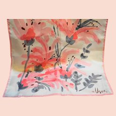 Vera 1960s-70s Pink Grey Floral Scarf 42 x 14 IN Oblong