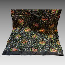 Echo Silk Black Bright Floral Print Oblong Scarf 46 x 15 IN