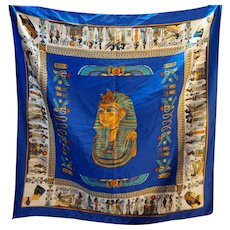 King Tut Tuthankhamun Egypt Theme Souvenir Scarf Polyester Made in Italy 34 IN
