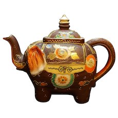 Satsuma Japan Elephant Figural Moriage Hand Painted Tea Pot Repaired Lid