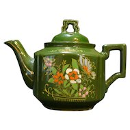 Green Moriage Hand Painted Enamel Flowers Individual Tea Pot Japan