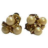 Triple Faux Pearl Knot Gold Tone Clip Earrings