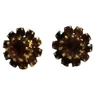 Pink Crystal Rhinestone Earrings Post Backs