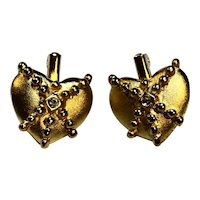 Brushed Gold Tone Heart Pendants Pair Rhinestone Center