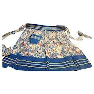 BLue Floral Cotton Half Apron Vintage