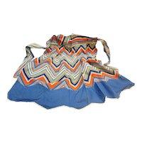 Blue Orange Green Chevron Striped Cotton Half Apron Vintage