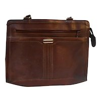 Oxblood Leather Vintage Handbag Attache Style