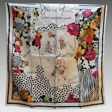 Diane Freis 10th Anniversary Scarf 1988 Polyester Made in Hong Kong