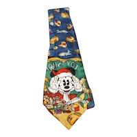 Mickey Mouse Christmas Toy Store Vintage Silk Tie Atlas Designs Disney