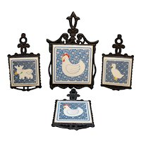 Country Chicken Goose Cow Blue Tile Cast Iron Trivet Set 4 Pieces