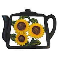 Sunflowers Tea Pot Shaped Cast Iron Trivet Hand Painted