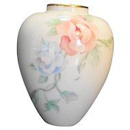 Lenox Chatsworth Vase 6 IN Cream Peach Blue Flowers 1987-1993