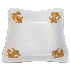 Italy White Square Pottery Dish Embossed Corners 6 IN