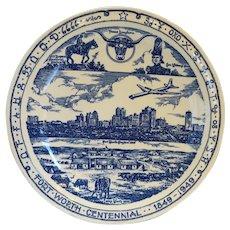 Vernon Kilns Blue Transferware Stripling's Ft Worth Souvenir Plate