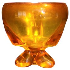 Viking Art Glass Epic Persimmon Orange Footed Candy Box No Lid